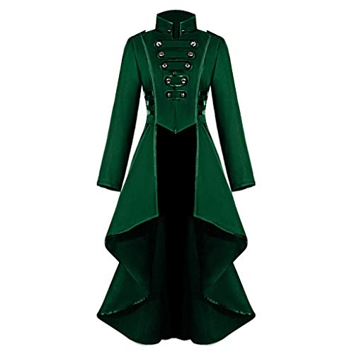 Lazzboy Frauen Gothic Steampunk Button Lace Korsett Halloween Kostüm Mantel Jacke(Grün,XL) (Michael Myers Kid Clown Kostüm)