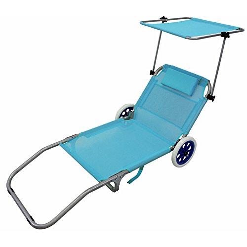 Milo srl spiaggina sdraio pieghevole lettino carrello metallo ruote spiaggia mare tetto piscina tettuccio