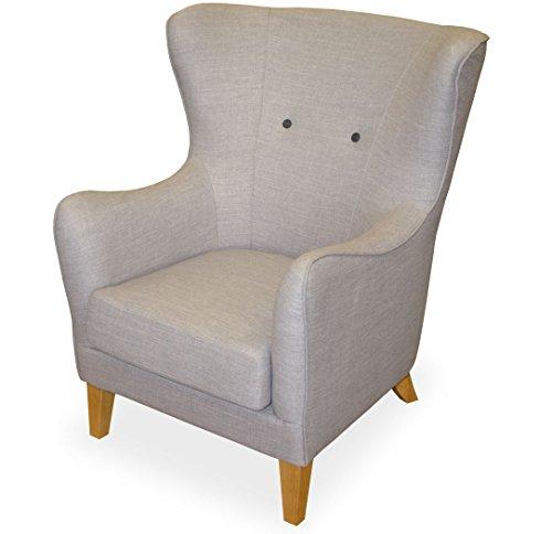 KMH, Gemütlicher Sessel 'Juist' mit grauem Strukturstoff bezogen (#204618)