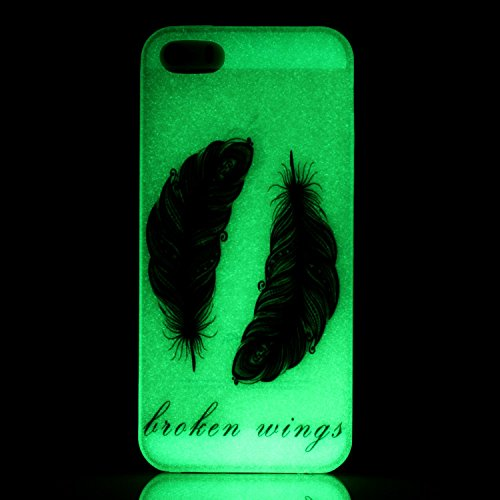 iPhone 5/5S/SE Custodia Morbida,Ukayfe 2016 Nuovo Ultra Sottile Agganciabile Nottilucenti Luminoso Flessibile TPU Gel Silicone Thin Custodia Protettiva Anti Graffi Back Copertura Skin Shell Cover Case Black Feather