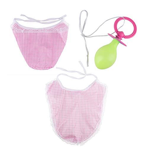 Baby Kostüm Haube - iixpin Erwachsenen Baby-Set Kostüm mit Haube Latz und Schnuller Nuckel Verkleidung Damen&Herren Baby Kostüm Karneval Cosplay Kostüm Clubwear Rosa One Size