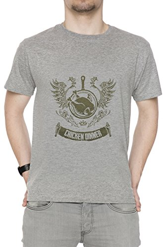 Winner Winner Chicken Dinner Men's T-Shirt Crew Neck Grey Tee Short Sleeves All Sizes