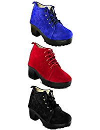 TEQTO Women's Black, Red And Blue Pack Of 3 Ankle Boots {Combo-29}