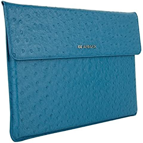 eimo Macbook Air 15.4 pollici per notebook ultrasottile caso busta dell'unità di elaborazione del sacchetto Custodia in pelle per 15.4 pollici Laptop / Notebook PC -Macbook Air 15.4 ''(Ostrich grain-blu)