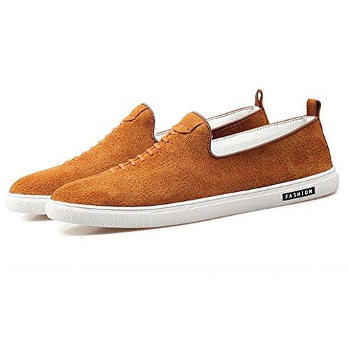 Heart&M chaussures rétro cuir véritable décolletée respirant cuir hommes patineur Yellow