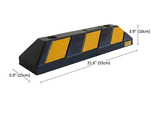 Preisvergleich Produktbild RWS-4 Gummi Radstopp-Parkplatzbegrenzung für Parkplätze und Garagen, Farbe Schwarz-Gelb, Abmessungen 55x15x10 cm (1er Pack)