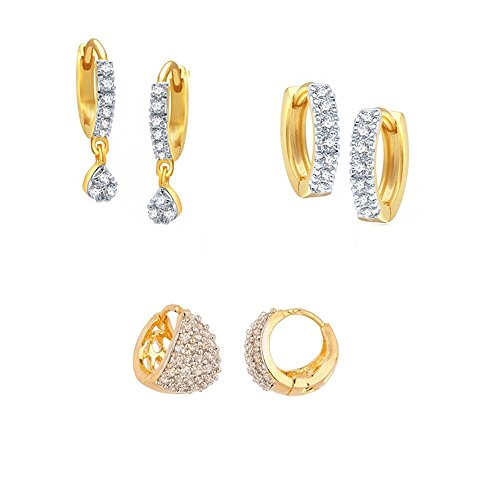 Zeneme Gold-Plated Combo Of Hoop Earrings For Women