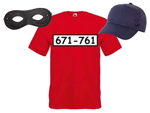 Fan Kostüm Outfit Maske Set Cap Handschuhe Einbrecher Bankräuber Verkleidung, Variante wählen:T-Shirt/Cap/Maske;Größe wählen:M ()