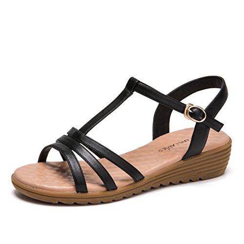 Mit Pure Tau Sandalen Toe Summer Round schnalle Color Sandalen A Simple Und ein Head wort wgpvzUq