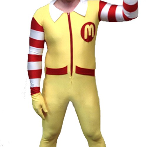 MyPartyShirt Ronald McDonald Erwachsene Kostüm Body McDonalds Clown Herren Lycra Spandex Fancy Kleid