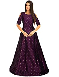 3fdce9c7b48 Belomoda Jacquard Taffeta Fancy Silk Fabric Half Sleeve Printed Casual  Partywear Stitched Long Gown For Women