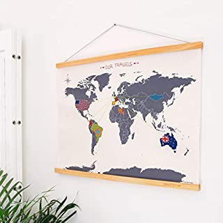 SUCK UK Wall Decor World MAP | Travel Accessories | DIY Cross Stitch Kits | Embroidery Thread & Needle Included |, Wood (Pine), Multi, 59.5 x 44.1 x 1.8 cm