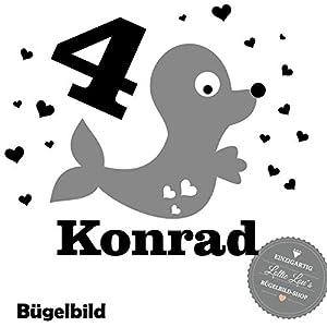 Bügelbild Aufbügler Geburtstag Zahl und Name Robbe Seal Herzen in Flex, Glitzer, Flock, Effekt in Wunschgröße