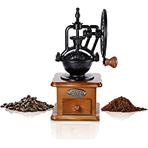 Vintage Coffee Machine Manual Ceramic Burr, Hand Retro Style Wooden Mill Drawer Manual Grinder Machine, Coffee Makers Manual Coffee Beans Spice Nuts for Home Office Travel Decoration