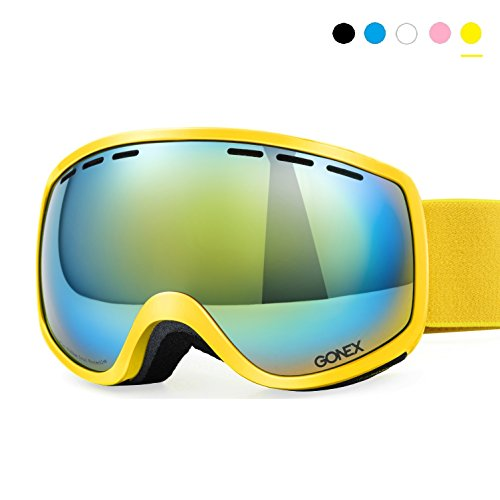 Skibrille Herren Kinder, Gonex 3 Size Snowboardbrille für Kinder Herren Damen Jugendliche Brillenträger, Anti-Fog und 100{bd9ba57bc03d61e469400dcee1cc0bd2e33823b9ccd617f81c0e84675864dfe6} UV Schutz
