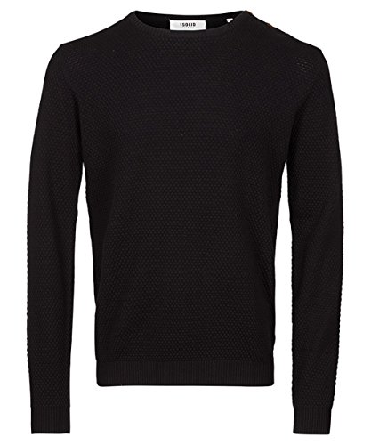 Solid Strickpullover, Herren, Medium, Graumeliert