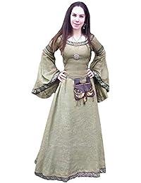 Halloween Medieval Deguisement Princesse Longue Robe Victorien Renaissance  avec Lacets Robe Gothique Medievale Col Rond Robe 875cc810b40