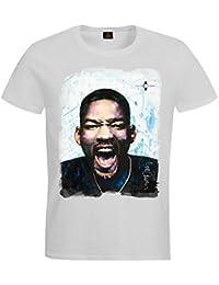 "Camiseta personalizada, Diseño ""Will Smith Artwork © Sid Maurer–UNISEXO"" blanco (V.I.P. Pictures World by CRISTALICA)"