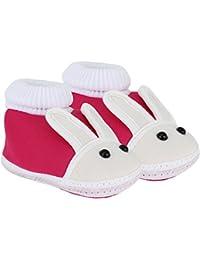 NeskaModa Infants Soft Cotton Booties, 12cm - 0-12 Months (Pink)