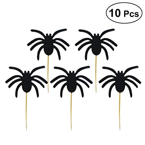 Spinne Kuchen Cupcake Toppers Picks Halloween Thema Party Kuchen Dekoration Halloween Spinne Foto Requisiten 10 STÜCKE (Schwarz) ()