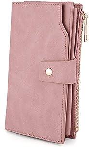 UTO Women's RFID Blocking Large Capacity Vegan Leather Clutch Wallet 21 Card Slots Holder Organizer Ladies