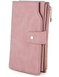 UTO Damen RFID Blockierung PU Leder Geldbörse Kupplung 21 Kartensteckplätze Halter Organizer Damen Geldbörse mit Armband Große Kapazität innere Tasche passt 5,5 '' Handys