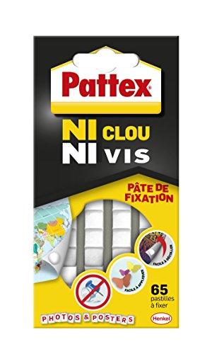 Pattex 2299500 Ni Clou Ni Vis - pâte de fixation - 65 pastilles, Blanc, Set de 65 pièces