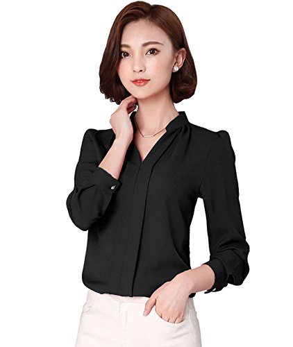 Keiraa Women's Crepe Shirt (K000052, Black, Medium)