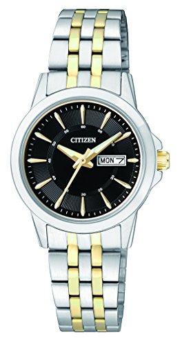 Citizen Damen Analog Quarz Uhr mit Edelstahl Armband EQ0608-55EE (Citizen Silber Damen Uhr)
