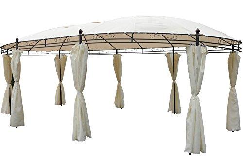 Unbekannt Garten Pavillon oval 5,3 x 3,5m beige inkl. Seitenteile
