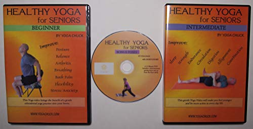 Yoga for Seniors - 3 DVD Set: Beginner, Intermediate & Bonus DVDs. Healthy gentle Yoga videos with chapters of Chair, Standing, Floor and Relaxing Routines.