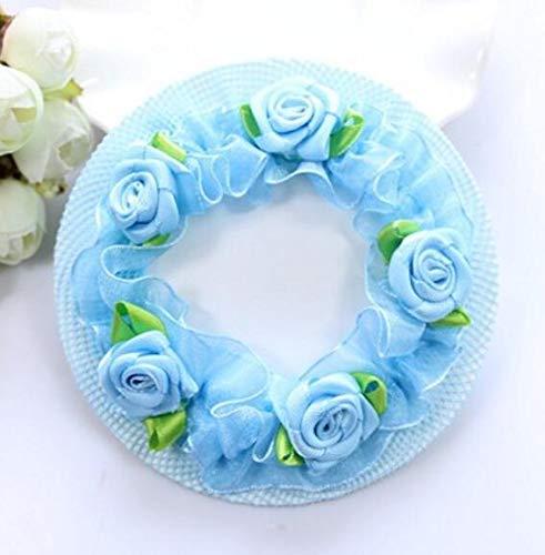CHENFUI Haarnetz, Blumen, Tanz, Ballett, elastisch, Netz, unsichtbar, für Mädchen, Nylon, blau, 7cm