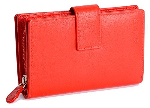 SADDLER Damen Geldboerse 14 cm mit hohem Volumen & viel Stauraum Reissverschluss Banknotenfach Laschen-Verschluss - Rot