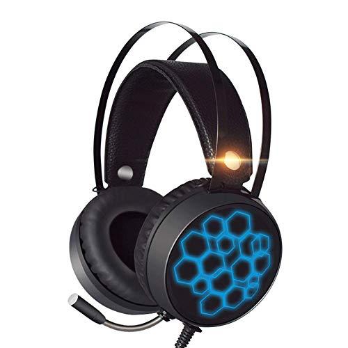 DZCP Gaming-Kopfhörer, 7.1 Kanal, ergonomisch, Mikrofon mit Geräuschunterdrückung, Subwoofer, Stereoanlage, Fernbedienung, USB-Port. Entwickelt für PC