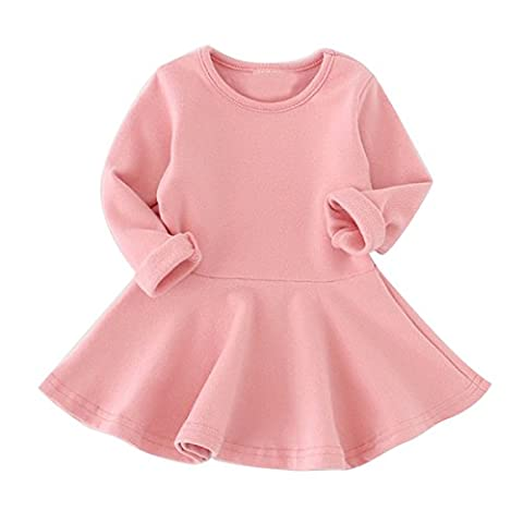 Puseky Baby Kids Girls Cotton Long Sleeve Ruffled Frilled Swing Dress Top (6-12 Months, Pink)