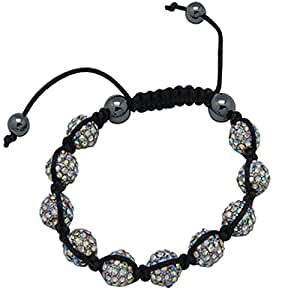 Utopia Bracelet Cristaux- unisexe - 9 aurore perles cristal Swarovski 11mm - 2 perles hématite, réglable de 15cm - 25cm