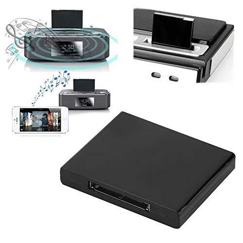 Bluetooth Audio Adapter,Colorful Wireless Bluetooth A2DP Musik Empfänger Audio Adaptor Receiver für 30 pin iPod iPad iPhone (Schwarz) (Bluetooth-empfänger Für Apple)