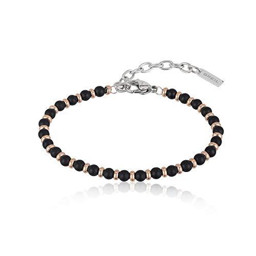 Gioiello breil collezione black onyx, bracciale da uomo in acciaio, pietre naturali colore altro misura 22,5cm con con pietre - tj2409