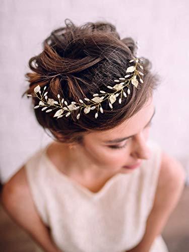 Handcess fascia decorativa per i capelli della sposa foglia di vite dorata accessori per capelli da donna.