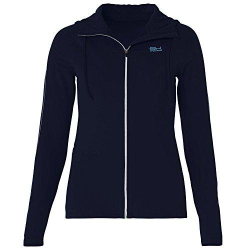 Sportkind Mädchen & Damen Tennis/Fitness/Sport Joggingjacke mit Kapuze, Navy blau, Gr. L