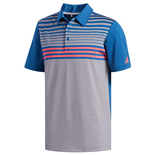 adidas Herren Ultimate 365 3 - Stripes Hather Polo Shirt Poloshirt Grau (Gris/Azul/Rojo Dx1257), Medium