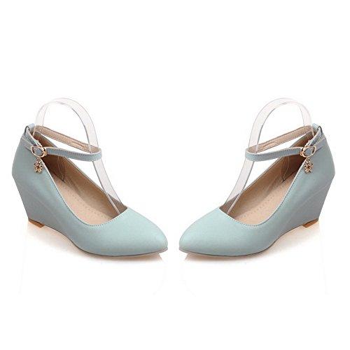 VogueZone009 Femme Matière Mélangee Pointu à Talon Correct Boucle Chaussures Légeres Bleu