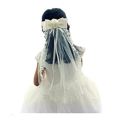 SwirlColor Ivoire Court Communion Veil Girl / Ruban Bow Casques / Wedding Veil Pour Flower Girls