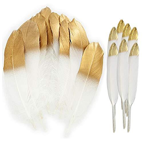 iße Federn mit in Gold getränkter Spitze, Crafts Gänsefedern für Kostüm, Taschen, Ohrringe Dekoration, DIY Dream Catcher, Hochzeitsfest Home Party Dekorationen ()