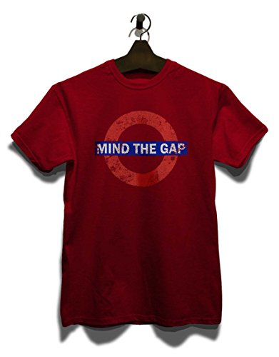 Mind The Gap Vintage Herren T-Shirt - Bordeaux L (Gap Shirt Logo)