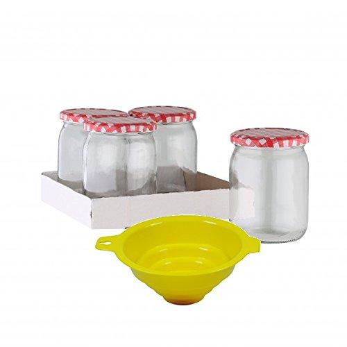 Viva Haushaltswaren - 4 x großes Marmeladenglas / Einmachglas 540 ml mit Deckel, Twist-off Gläser Set rund - als Einweckgläser, Vorratsdosen etc. verwendbar (inkl. Trichter) (12 Glas-topf Mit Deckel)