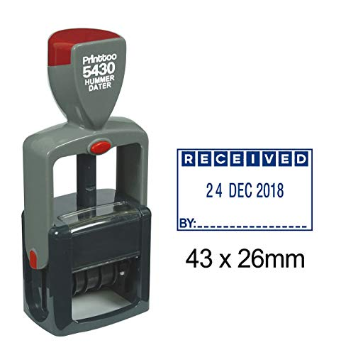 Printtoo Self Inking Heavy Duty Dater Stamp With Received By Text Office Stationery Date Rubber Stamp-Blue