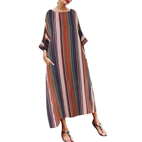 HULKY Frauen Bohe Baumwollkleid Sommer Halbarm Gestreiften Multicolor Lose Vintage Beach Long Robe(braun,S)