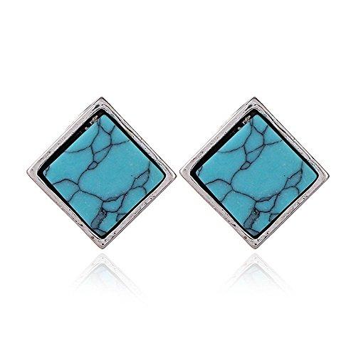WANGLETA Ohrstecker Ohrhänger Geschenkidee für Frauen Antique Pine Stein Ohr schrauben Square National Wind fashion Ohrringe böhmischen Ohr Schmuck blau -