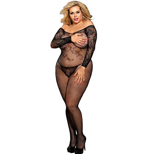 LXJ-LD Womens Plus Größe Dessous Für Sex Lace Körper Strumpf Sexy Jumpsuit Albtraum Kleid One-Piece Teddy Nightie,Black,XXXL (Größe Strümpfe Körper Plus)